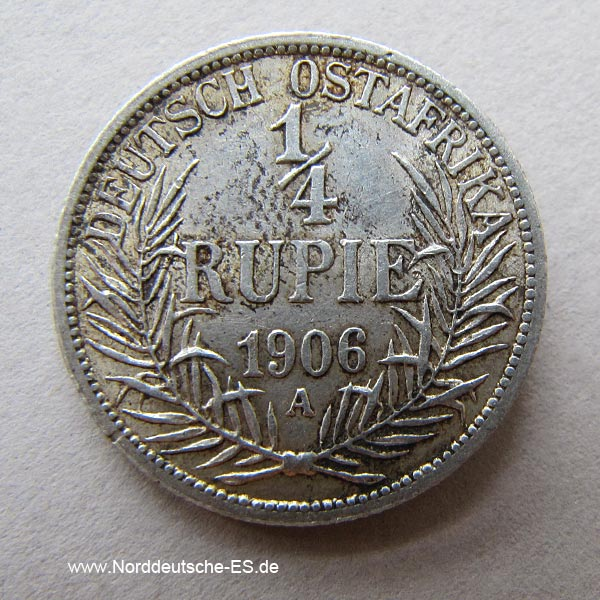 Deutsch Ostafrika 1_4 Rupie Silber Wilhelm II 1904-1914 A