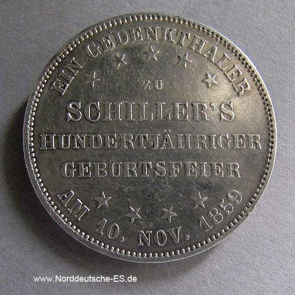 Frankfurt Gedenktaler 1859 Schiller