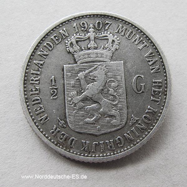 Niederlande 1_2 Gulden Holland Silber 1907 Wilhelmina