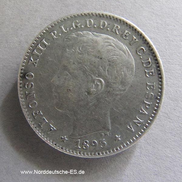 Puerto Rico 20 Centavos 1895 Alfonso