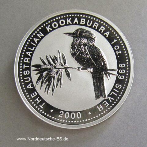 Silbermünze Kookaburra 1 OZ, Australien 2000, Feinsilber 999‰, Anlagesilber, Sammlermünze, 1 Dollar, 1 Unze Finesilver, gekapselt oder eingeschweisst