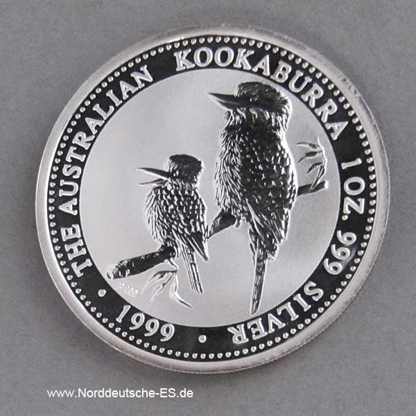 Australien 1 oz Silber Kookaburra 1999