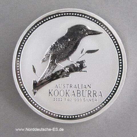 Australien 1 oz Silber Kookaburra 2003