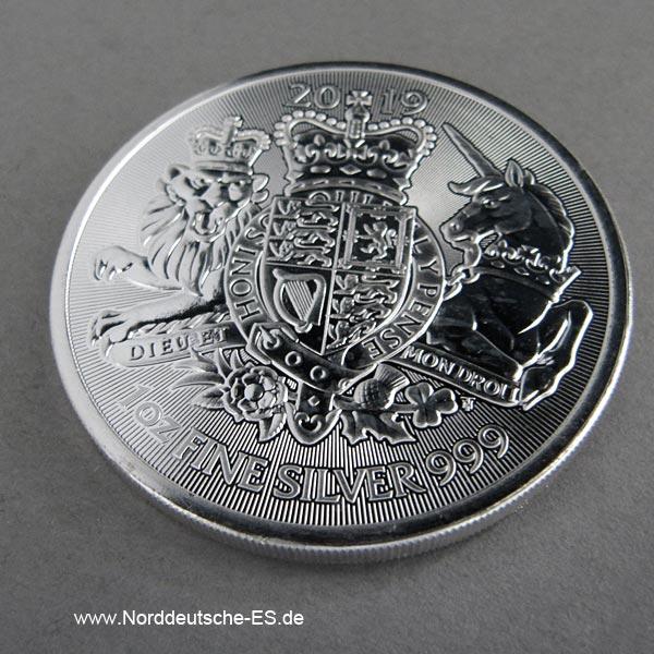 England 1oz Feinsilber 2 Pfund Royal Arms 2019