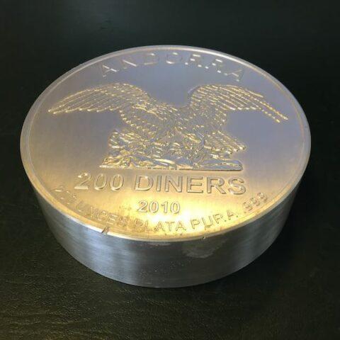200 Feinunzen 999 Silbermünze 200 Andorra Diners