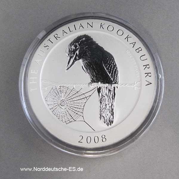 Australien 10 oz Kookaburra Silber 2008