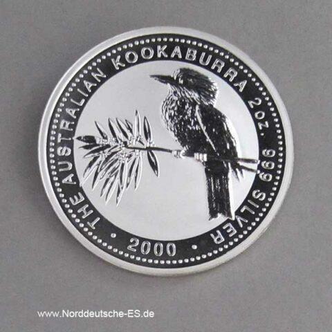 Australien Kookaburra 2 oz Silbermünze 2000