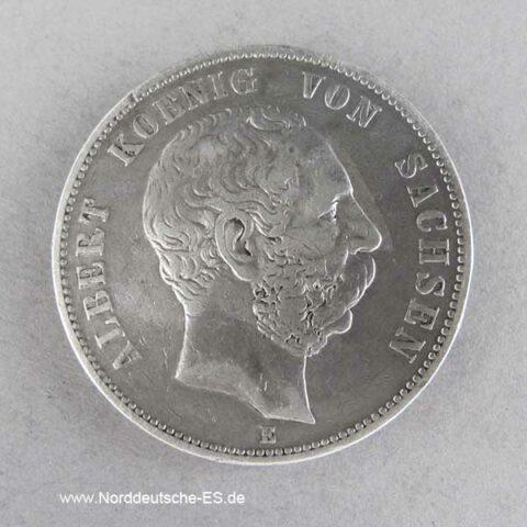 Deutsches Reich 5 Mark Silber Albert Sachsen 1876 E