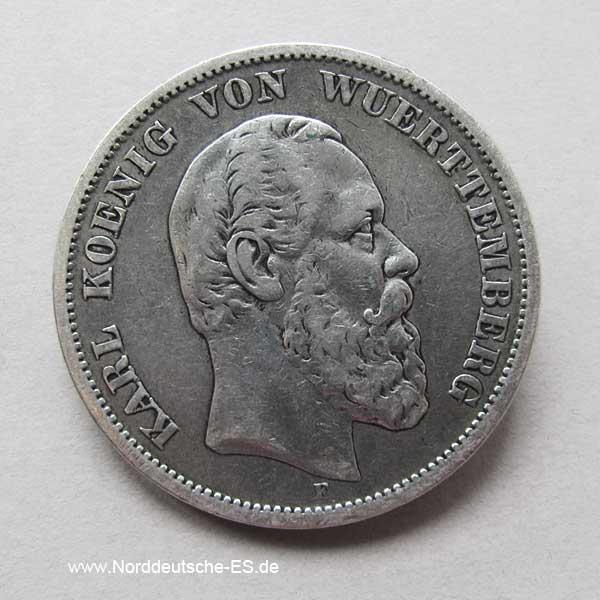 5 MarkSilbermünze Karl von Württemberg