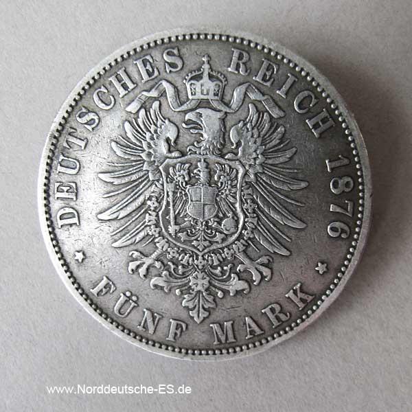 Fünf Mark Silber 1876 Freie Hansestadt Hamburg