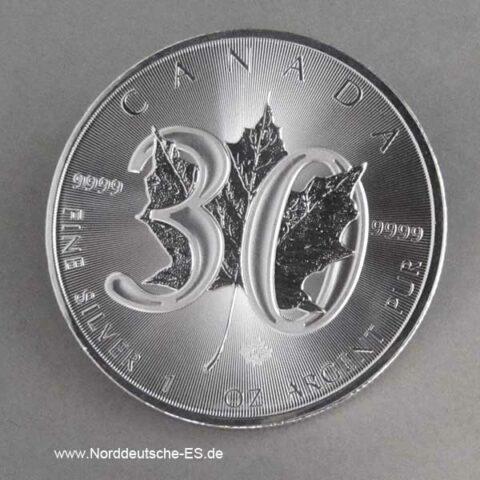 Kanada 1 oz Maple Leaf 30 Jahre Jubiläum Silber