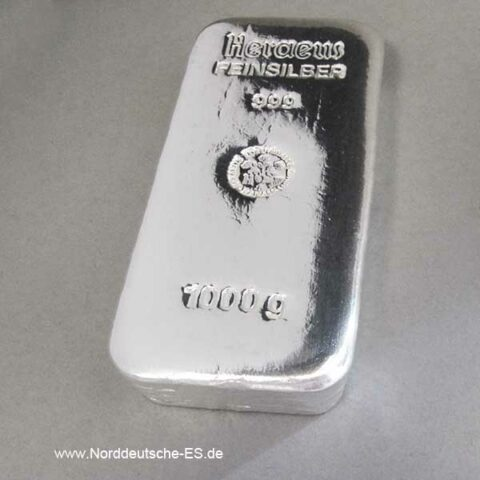 Silberbarren 1kg Heraeus Feinsilber 1000 g