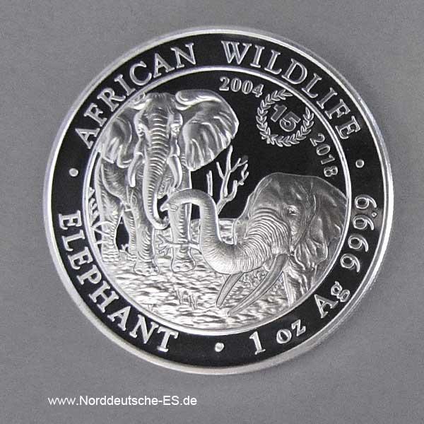 Somalia 15 Jahre African Wildlife 1 oz Elephant
