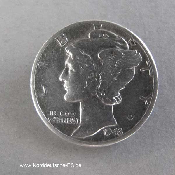 USA 10 Cent 1 Dime Silbermünze Mercury Dime 1916-1945