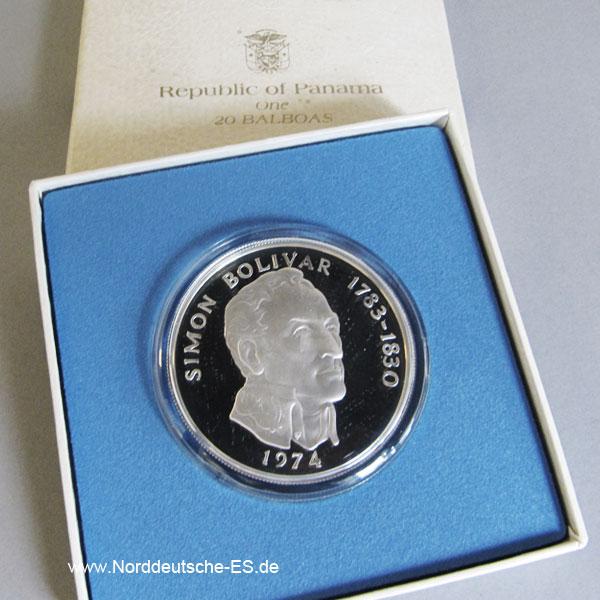 Panama 20 Balboas Silber Stempelglanz 1973