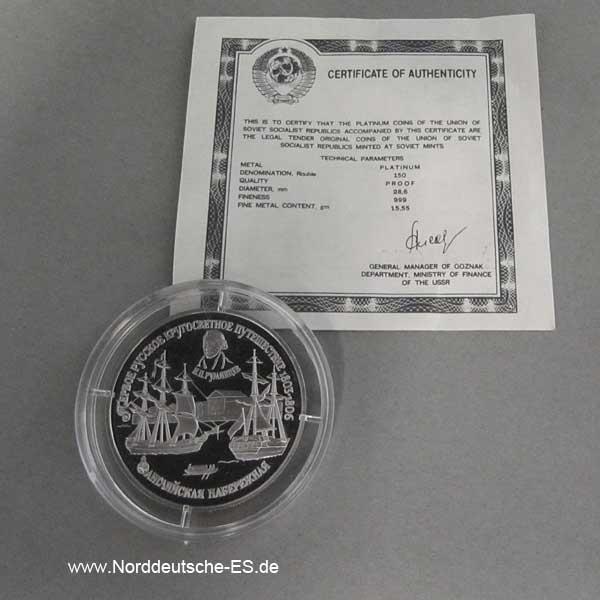 Platinmünze 150 Rubel 1993 Segelschiffe