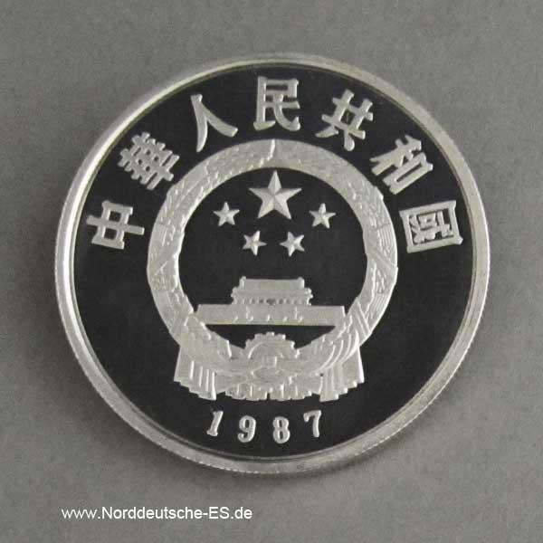 China 5 Yuan Silbermünze 1987 Du Fu Dichter