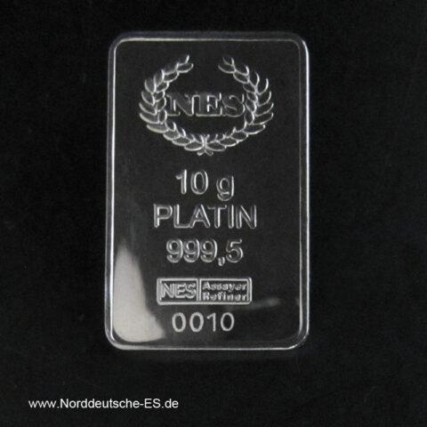 10 g Platinbarren 999.5 Norddeutsche ES