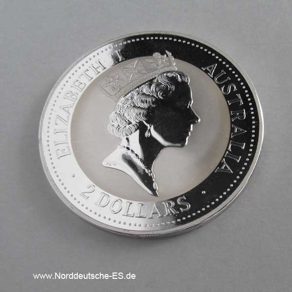Australien 2 oz Silber 2 Dollars Kookaburra