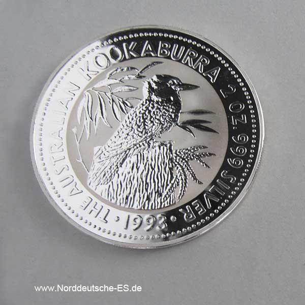 Australien 2 oz Silber 2 Dollars Kookaburra 1993