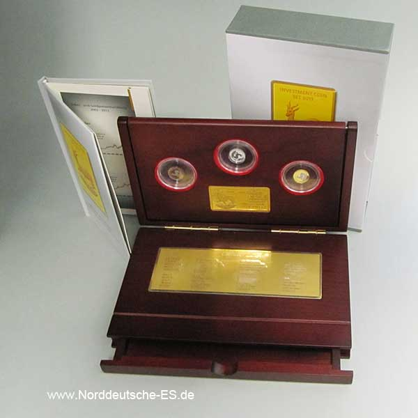 Gabun Investment Coin-Set 2013 Gold Silber Rosegold