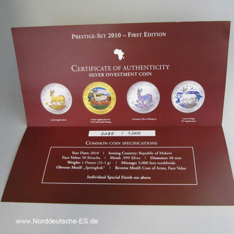 Malawi Prestige-Set 2010-First Edition Zertifikat