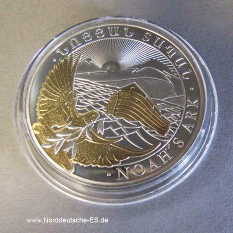 Silbermünze 1 oz Arche Noah Silbermünze teilvergoldet