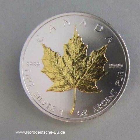 Silbermünze Maple Leaf Goldapplikation