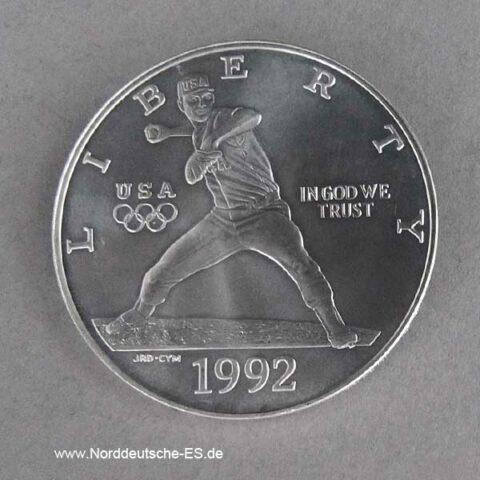 Silbermünze Baseball 1992