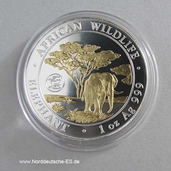 Somalia Elephant 1oz Feinsilber teilvergoldet 2012