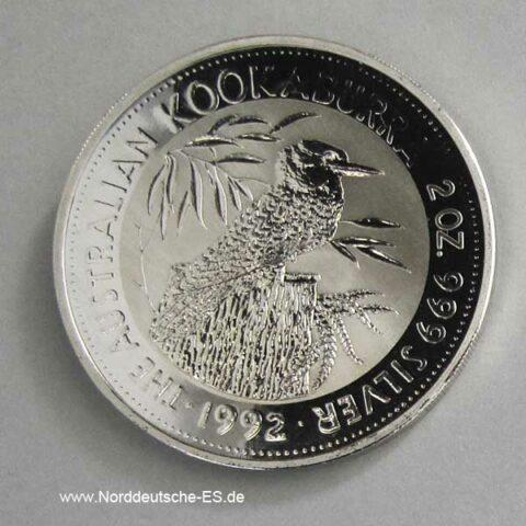 Australien 2 Unzen Silber 2 Dollars Kookaburra 1992