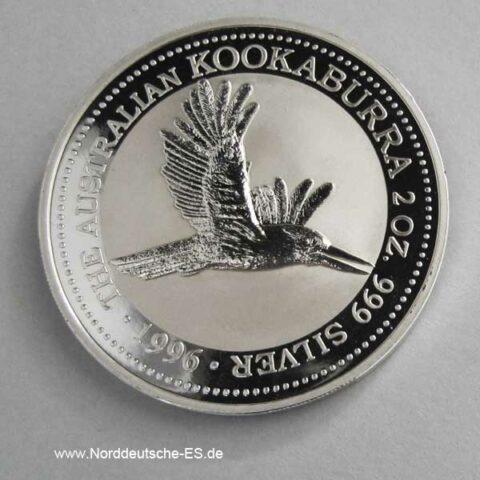 Australien 2 Unzen Silber 2 Dollars Kookaburra 1996