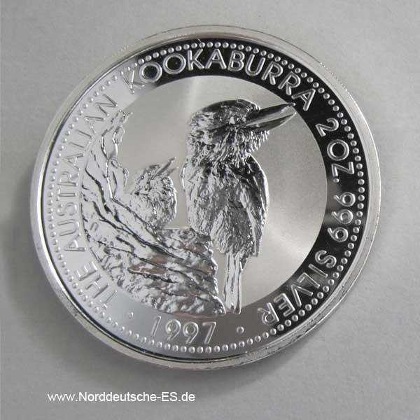 Australien 2 Unzen Silber 2 Dollars Kookaburra 1997