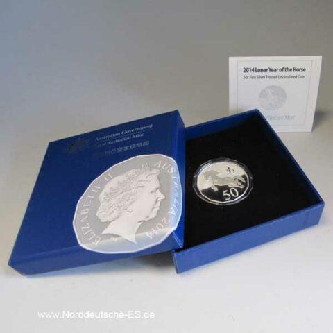 Australien Lunar Pferd 2014 Unzirkuliert Originalbox Zertifikat