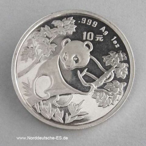 China Panda 10 Yuan 1 oz Silber 1992