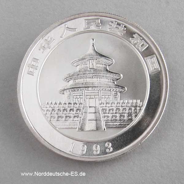China Panda 10 Yuan 1 oz Silber 1993