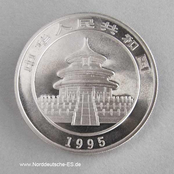 China Panda 10 Yuan 1 oz Silber 1995