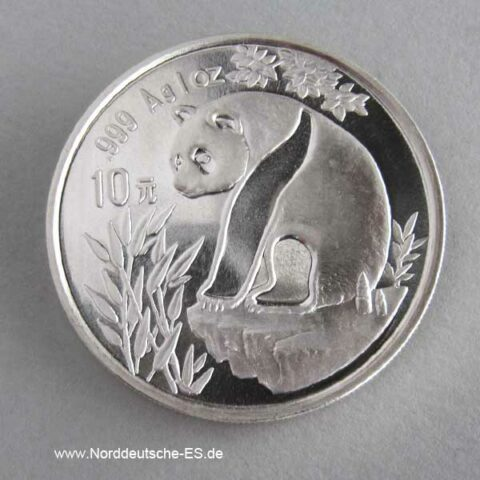 China Panda 10 Yuan 1 oz Silber 1993