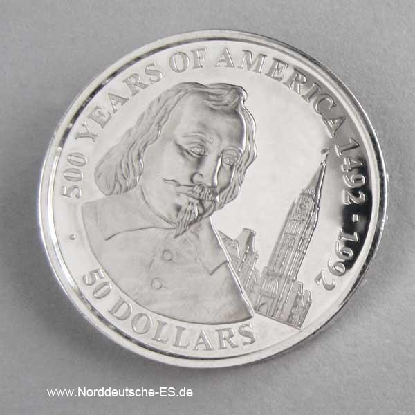 Cook Islands 50 Dollars 1990 Silbermünze