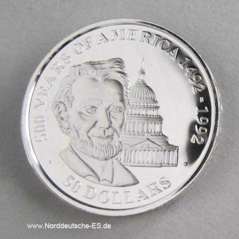 Cook Islands 50 Dollars 500 Jahre Amerika 1990 Abraham Lincoln