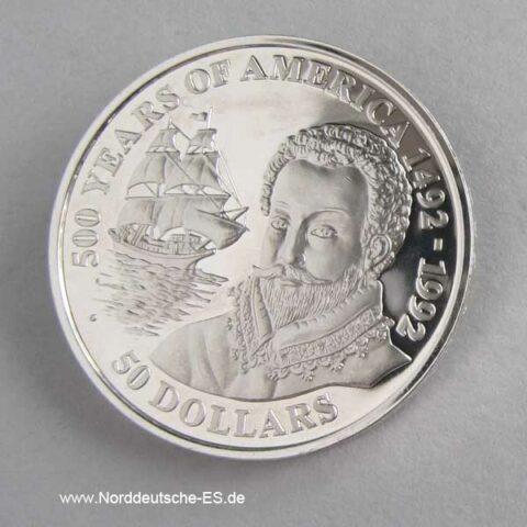 Cook Islands 50 Dollars 500 Jahre Amerika 1990 Francis Drake