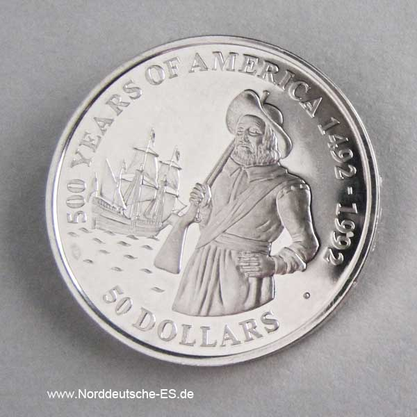 Cook Islands 50 Dollars 500 Jahre Amerika 1990 Henry Hudson