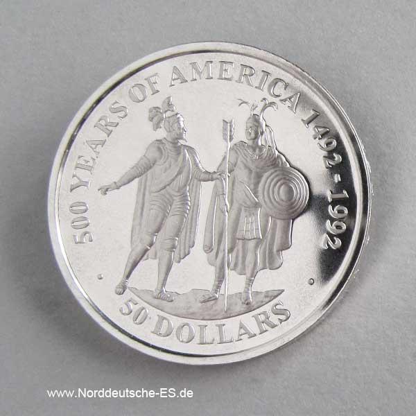 Cook Islands 50 Dollars 500 Jahre Amerika 1990 Hernan Cortes mit Montezuma
