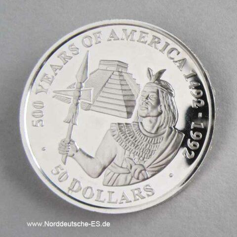Cook Islands 50 Dollars 500 Jahre Amerika 1990 Inka Prinz