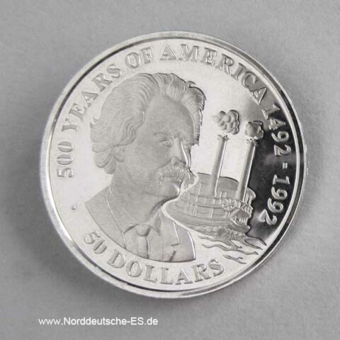 Cook Islands 50 Dollars 500 Jahre Amerika 1990 Mark Twain