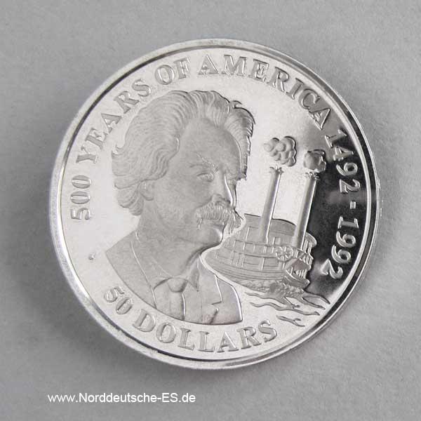 Cook Islands 50 Dollars 500 Jahre Amerika 1990 Mark Twain
