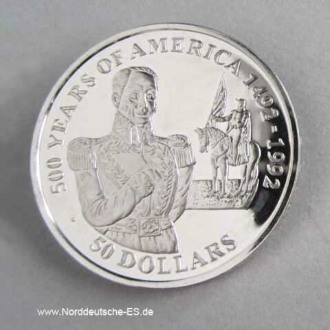 Cook Islands 50 Dollars 500 Jahre Amerika 1990 Simon Bolivar