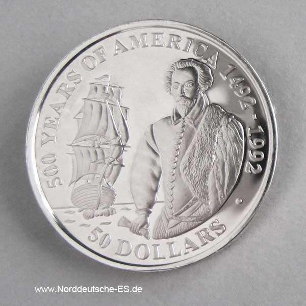 Cook Islands 50 Dollars 500 Jahre Amerika 1990 Walter Raleigh
