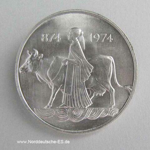 Island 500 Kronur Silbermünze 1974