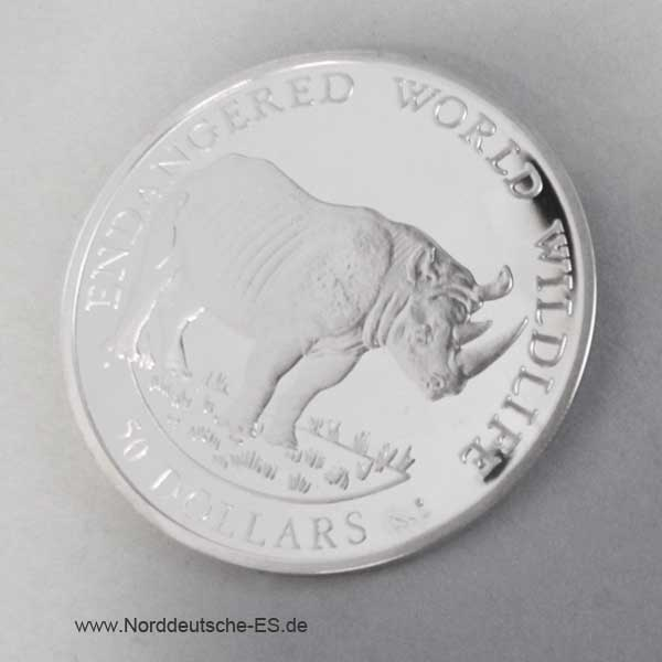 Nashorn 1990 Cook Islands Silbermünze